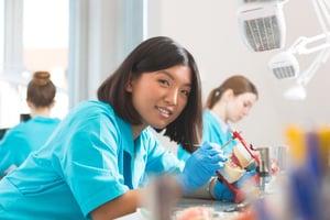 Asian dental lab worker